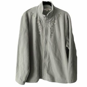 Tradition Sage Green Fleece Zip Up Cardigan XL